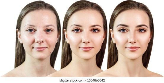 Young sensual woman applying make-up by steps. Over white background.