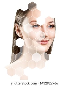 Young sensual woman with mosaic honeycombs on face. Over white background.