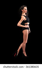 young sensual women wearing lingerie on black background
