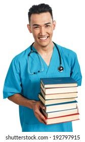 a young serious male medical student (nurse, intern, doctor) with a bunch of books