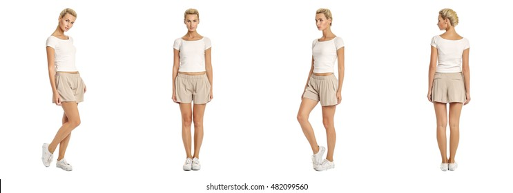 Young sexy blond woman in beige shorts