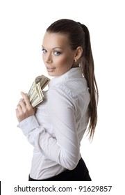 young sexy business woman take a bundle of dollars