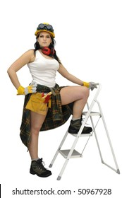 Young sexy construction worker girl with a ladder isolated in white