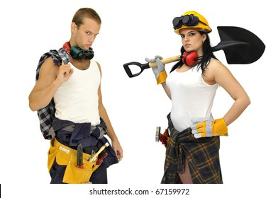 Young sexy construction workers team isolated in white