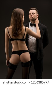 Young sexy couple girl in rearview portrait