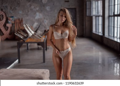 Young sexy girl in lingerie posing in a loft style interior