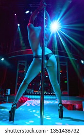 Young sexy girl in strip club luring visitors to the lap dance. striptease