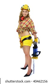 Young sexy girl worker with chainsaw isolated in white