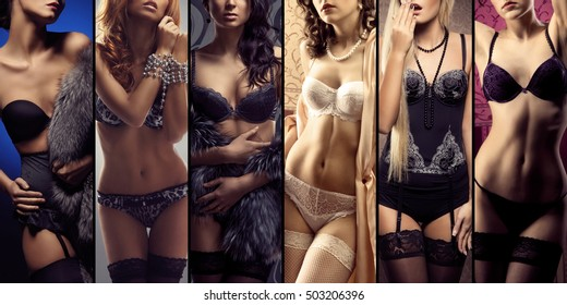 Young and sexy girls in erotic underwear. Lingerie collection.