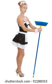 Young sexy maid with broom