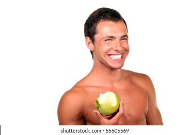 Young sexy man Holding Green Apple