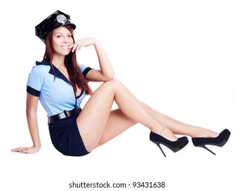young sexy policewoman,  isolated against white background