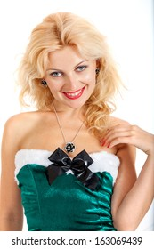 Young sexy Santa woman isolated a on white background