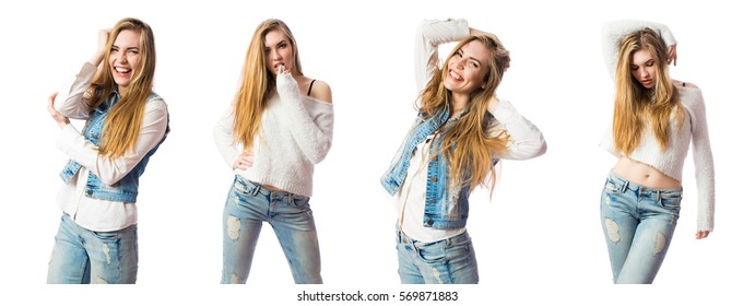 Young sexy sensual fashion woman on white wall background, dressed in jeans style, stylish, fashionable blonde posing in the studio.