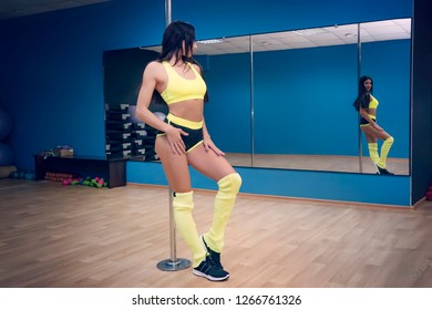 Young sexy striptease dancer training in dance studio. Dancer posing near pole and looking at the mirror. Brunette dancer wearing erotic outfit reflecting in the mirrow. Fit girl enjoing her shape