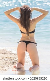 Young sexy woman in a black bikini from the rear on sea background