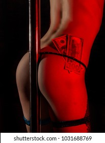 Young sexy woman dancing in a nightclub striptease with money tucked in her panties