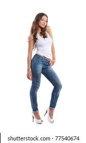 Young sexy woman in denim jeans isolated on white