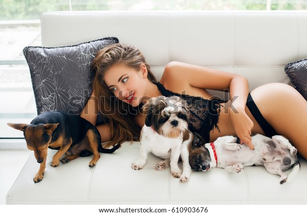 Terrific Young Sexy Woman Lying On Couch Royalty Free Stock Image Uwap Interior Chair Design Uwaporg