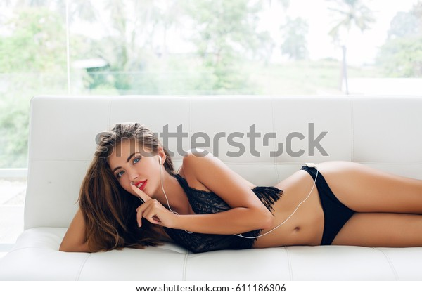 Marvelous Young Sexy Woman Lying On Couch Stock Photo Edit Now 611186306 Uwap Interior Chair Design Uwaporg