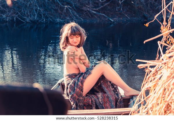 Young Sexy Woman On Boat Sunset Stock Photo Edit Now 528238315