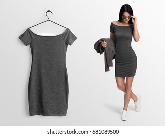 Young sexy woman in slim short dress, isolated,  mockup. Heather grey dress mockup on hanger, hanging against empty wall background.