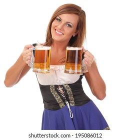young sexy woman wearing a dirndl with beer mug