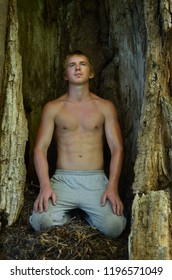young shirtless man sitting and meditating inside the trunk of an old tree