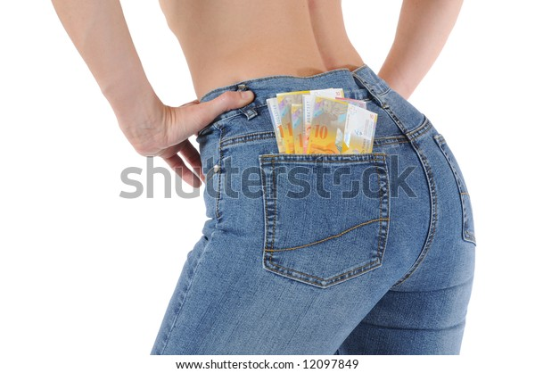 Young shirtless woman in tight jeans with money in her pocket