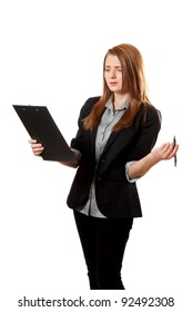 Young shirty business woman aggravated and holds clipboard