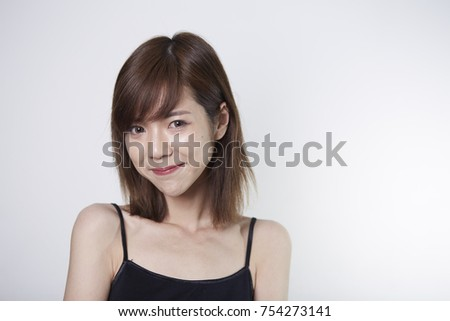 Young Short Hair Asian Girl On Stock Photo Edit Now 754273141