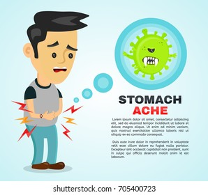 Young sick man having stomach ache, food poisoning, stomach problems, abdominal pain . flat cartoon character illustration infographic. Medical concept. Angry bacteria in the stomach