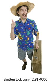 young silly man traveler, full body, isolated