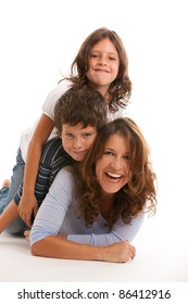 Young single parent family having fun isolated on a white background.