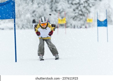 Young ski racer during a slalom competition