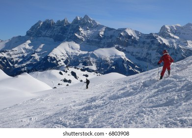 Young skier in red, with Dents du Midi in background,Mosettes - Cubere area,Chatel,French Alps,France