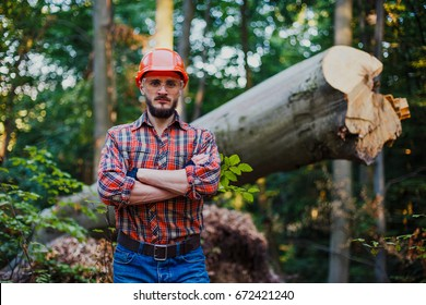 A young skilled logger in a helmet