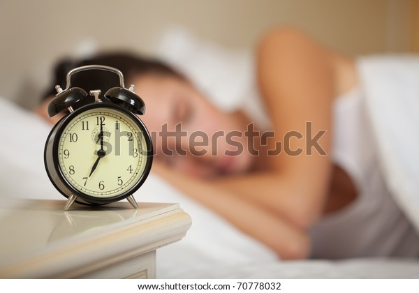 Young Sleeping Woman Alarm Clock Bedroom Stock Photo (Edit ...