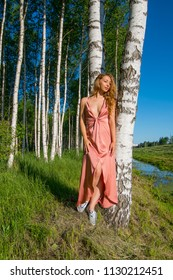 young slender beautiful girl in a long coral dress posing in a birch grove smiling in summy summer day