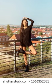 young slender Latina with long hair, wearing a very short black dress, posing next to a handrail with the city scape of Erfurt in the Background