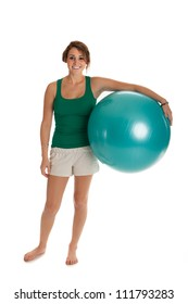 Young Slim Girl Exercise with Fitness Ball on Isolated Background