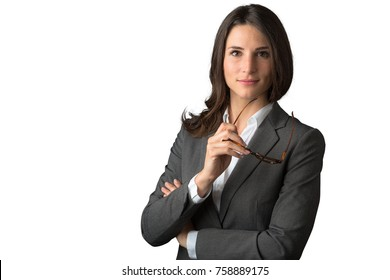 Young smart and witty business financial law type commercial professional on white background