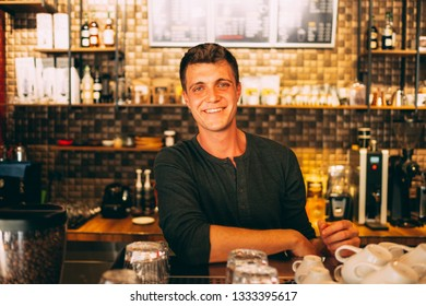 Young Smile Coffee Shop Owner