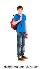 young smiley student holding bag and book. isolated on white background