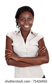 young smiling African American businesswoman wearing light shirt looking with crossed arms