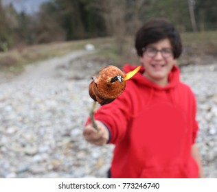young smiling boy with wurstel cooked on wooden stick and flame