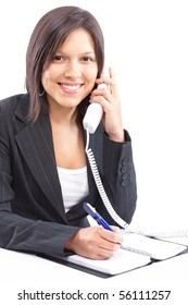 Young smiling business woman calling by  phone. Over white background