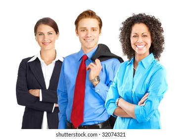 Young smiling  businessman and business women. Isolated over white