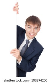 young smiling businessman holding white blank board isolated on white background