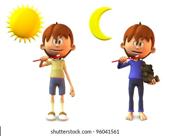 A young, smiling cartoon boy holding a toothbrush, ready to brush his teeth in the morning and in the evening. White background.